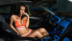 women, bikini, sitting, brunette, belly, finger on lips, women with cars, cleavage, painted nails, orange bikini ...
