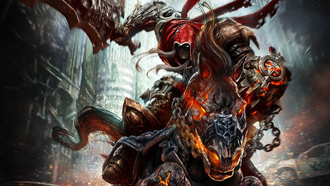 конь, darksiders wrath of war, меч, всадник, Демон