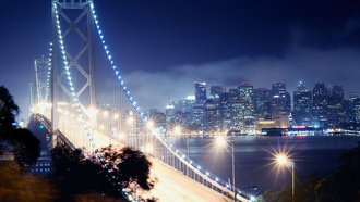 night, california, san francisco, bay bridge