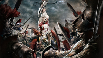 Gof of war, kratos, атакует
