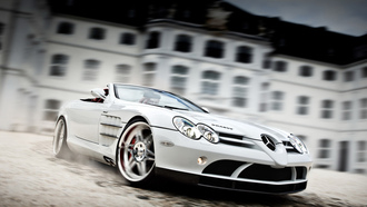 white auto, Brabus exclusive sport program, mercedes-benz slr roadster mclaren