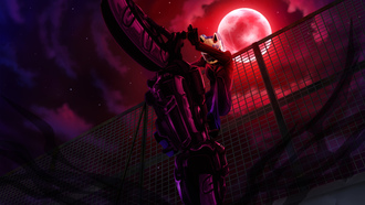stars, moon, night, motorcycle, sturluson selty, Durarara!!