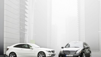 Mercedes, white, black