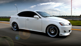 is350, auto wallpapers, Машины, lexus, cars, дорога, sedan, walls, clouds, road, is class, облака, авто обои, white, лексус