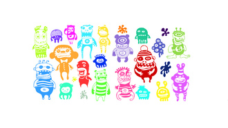 funny character, colors, monsters
