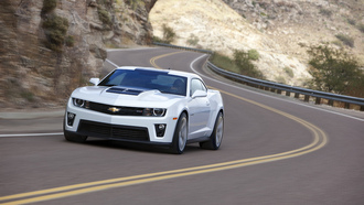 шевроле, camaro zl1, white, road, chevrolet