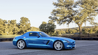 mercedes-benz, tree, amg, tuning, sls, blue, electric