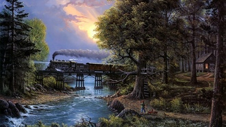 cat, Cherished companions, bridge, jesse barnes, boy, river, painting, train, sunset, trees