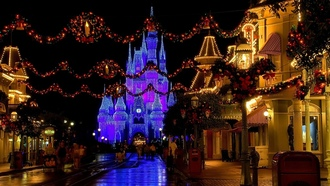 disneyland, castle, usa, florida, cinderella castle, street, christmas decoration, Christmas
