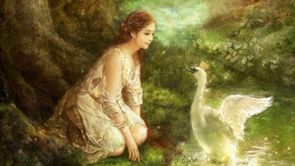 swan, south korea, арт, art, eun нee сhoi, flowers, forest, princess, Hyung jun kim, fantasy