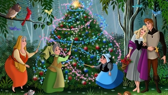 Sleeping beauty, christmas tree, movie, christmas, fanart, walt disney, animated film, fairytale