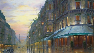 france, paris, eiffel tower, robert finale, cafe, painting, живопись, Cafe de paris