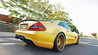 mercedes-benz, convertible, sl-55, amg, motion, rims, tuning, yellow