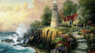 The light of peace, painting, art, house, sea, cottage, lighthouse, thomas kinkade