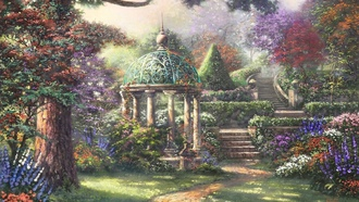 painting, landscape, forest, flowers, Gazebo of prayer, thomas kinkade, gazebo, trees