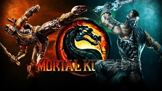 sword 2x, Mortal combat, vs, fire, flames, scorrpion, fight, sub-zero, opponents, punch