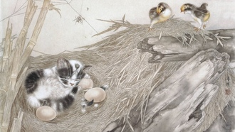 яйца, dream, egg, china style, кот, гнездо, Cat, сон, nest, bird, птенцы