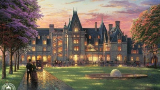 thomas kinkade, retro, biltmore, painting, Elegant evening at biltmore, north carolina, замок
