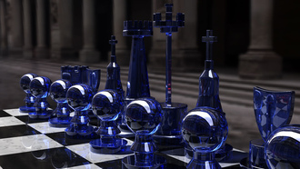 glass, стратегия, rendering, игра, шахматы, Chess set, kjasi, blue side