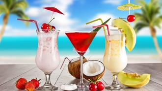 glasses, food, cocktail, coconut, melon, cocktails, strawberry, Summer, fruits, cherry