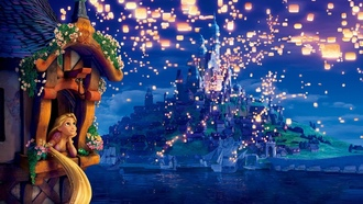princess, lights, night, dreams, rapunzel, Tangled, the movie, evening, lanterns