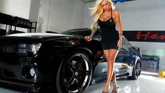 Chevrolet, black, tyres, camaro, girl, blonde, шевроле, чёрный, megan daniels