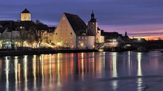 бавария, regernsburg, bridge, germany, Bavaria, германия, beautiful, river, city