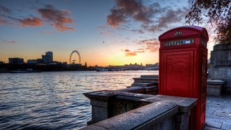 великобритания, uk, london eye, Sunset, england, london, telephone, thames, bridge
