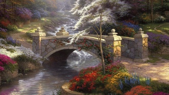 thomas kinkade, painting, nature, мост, bridge, Bridge of hope, мостик