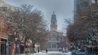 fort worth, snow, снег, форт-уэрт, техас, texas, usa, Courthouse