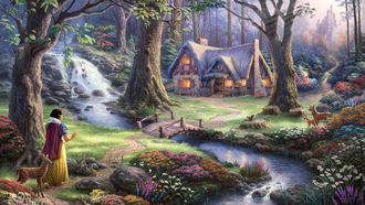 50-th anniversary, Thomas kinkade, snow white discovers the cottage, the disney dreams collection