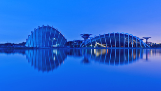 сингапур, singapore, Malaysia, reflection, gardens by the bay, малайзия, evening