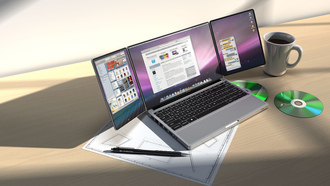 стол, дизайн, диск, чашка, concept, Apple, tribook