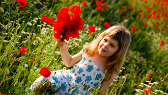 green field, happiness, child, children, Cute little girl, childhood, flowers