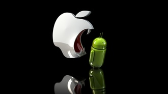 Apple, android, ios, клыки, злое яблоко