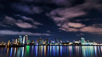 san diego, ocean, reflection, sky, buildings, clouds, Usa, california, night, downtown, lights