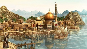 корабль, rendering, город, game wallpapers, city, ship, порт, arrival, Anno 1404