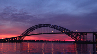 Usa, bayonne bridge, twilight, new jersey, сша, штат нью-джерси, sunset, river