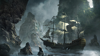 storm, the flying dutchman, sea, rocks, Ghost ship approaching, art, michal matczak, matchack