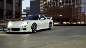 wallpapers auto, city, Auto, cars walls, tuning, mazda rx7, tuning cars, parking, white, cars