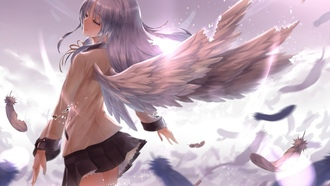 tachibana kanade, крылья, Angel beats, девушка, ангел, перья, свет