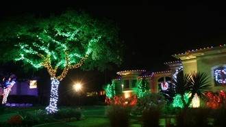 lights, christmas, Hot christmas, landscape, night, house, red, beautiful, green, christmas lights