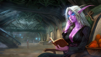 книга, night elf, yao ren, wow, эльф,  world of warcraft, Арт, сидя
