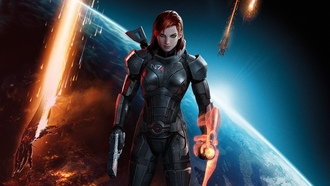 shepard, armour, girl, n 7, green eyes, red hair, guns, Mass effect 3, game wallpapers, earth