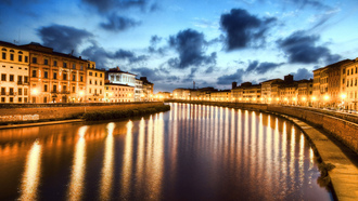 Italy, италия, ночь, river arno, pisa, night, пиза