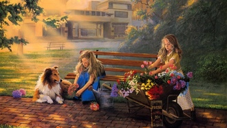 painting, david rottinghaus, bouquet, Little bouquets, girls, collie, flowers, selling flowers, dog