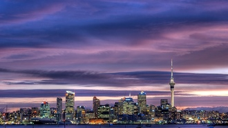 city, окленд, skyscrapers, sky tower, city center, sky, new zealand, Auckland, harbour
