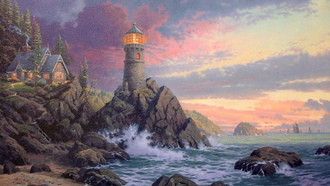 lighthouse, kinkade, art, Rock of salvation, evening, painting,  rock, ocean, thomas kinkade, house