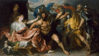 the taking of samson, myth, painting, dalila, Paul van dyck, dog, hair, scissors