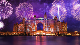 дубай, Atlantis the palm, dubai, салют, феерверк, вода, вода